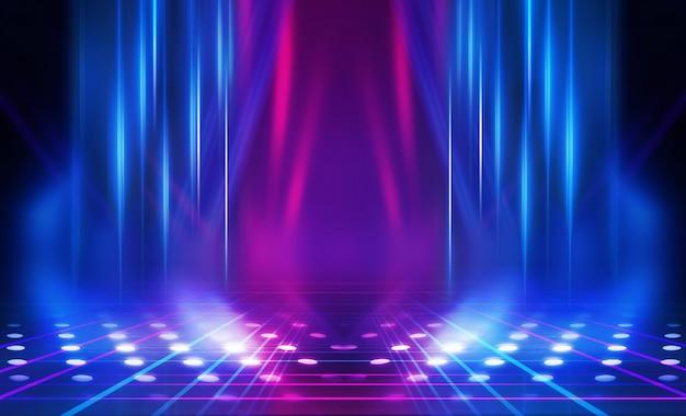 Vuoto astratto sfondo scuro. sfondo di scena spettacolo vuoto. bagliore di luci al neon e figure al neon su un palcoscenico vuoto. riflessione della luce sul marciapiede.