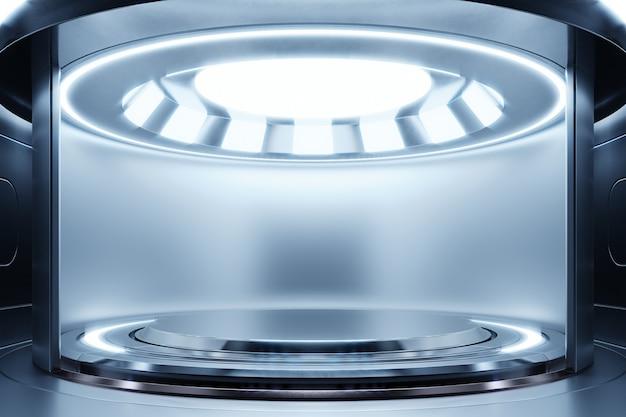 Vuoto blu scuro studio camera futuristica sci fi grande sala con luci blu, rendering 3d
