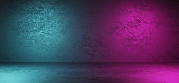 Stanza buia vuota con parete e pavimento e luce al neon cyberpunk su due lati
