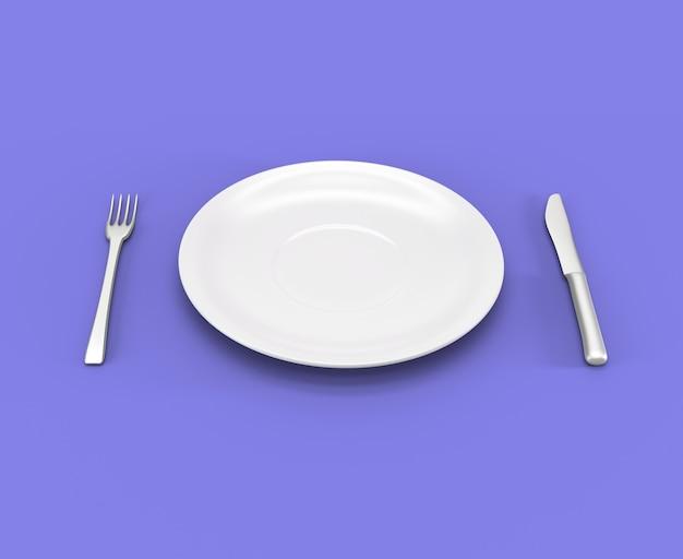 Piatto vuoto, forchetta e coltello isolato su sfondo viola, rendering 3d