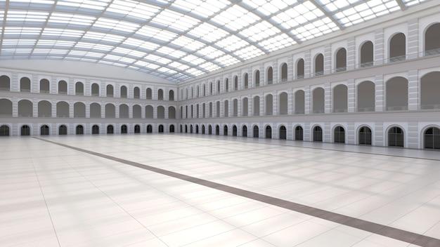 Spazio espositivo vuoto. forum aziendale. sfondo per mostre ed eventi. pavimento piastrellato. marketing mock up. illustrazione rendering 3d
