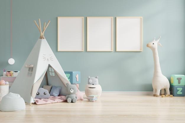 Cornice vuota nella stanza dei bambini, stanza dei bambini, scuola materna, rendering 3d