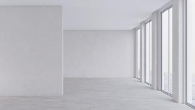 Sala della galleria vuota per mockup di mostre d'arte