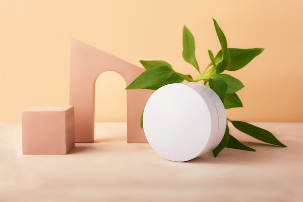 Piedistallo vuoto cubo geometrico e arco con foglie verdi fresche vicino ad esso. vaso per cosmetici rotondo vuoto con spazio per copia. buon sfondo per posizionare i prodotti.