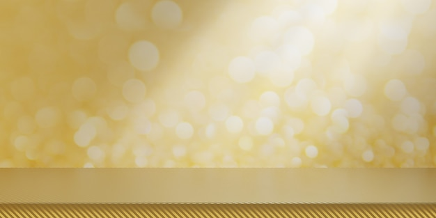Vuoto oro tavolo e sfocatura parete di illuminazione bokeh giallo per banner mock up sfondo astratto. rendering dell'illustrazione 3d.