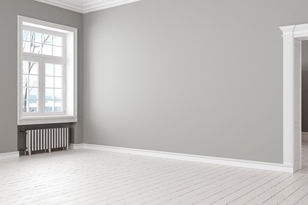 Interno loft scandinavo classico grigio vuoto con finestra e batteria. 3d render illustrazione.
