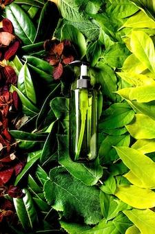 Bottiglia di plastica verde vuota per sapone su fondo fatto di foglie rosse verdi, sfumatura verde. presentazione del prodotto cosmetico ecologico. posto per etichetta. copia spazio. layout creativo della natura, vista dall'alto.