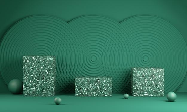 Vuoto verde tre moderna piattaforma minima con parete astratta sfondo 3d rendering