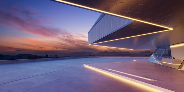 Terreno vuoto di fronte a edifici moderni rendering 3d fotorealistico