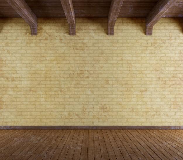 Stanza vuota del grunge con il vecchio muro di mattoni
