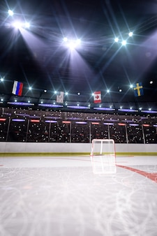 Arena vuota di hockey in 3d rendering