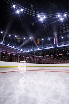 Arena vuota di hockey in 3d rendering