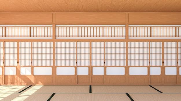 Interiore vuoto della stanza in stile tradizionale giapponese con porta scorrevole shoji e pavimento in tatami, rendering 3d