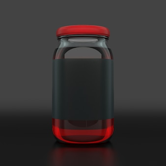 Barattolo di marmellata nero etichetta vuota su sfondo scuro. concetto di annuncio. mock up, rendering 3d