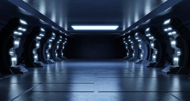 Vuoto sala studio blu futuristico sci fi grande sala sala con luci blu, futuro per il design.