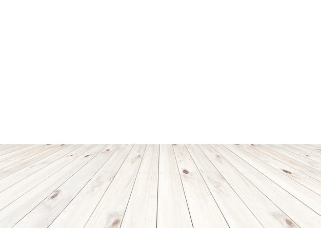 Piano d'appoggio di legno bianco chiaro vuoto isolato su fondo bianco