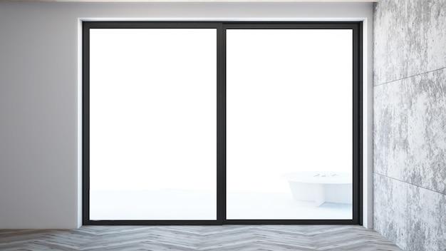 Soggiorno vuoto con modanatura e grande finestra