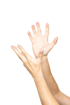 Mani maschii vuote che tengono le palme in su isolate