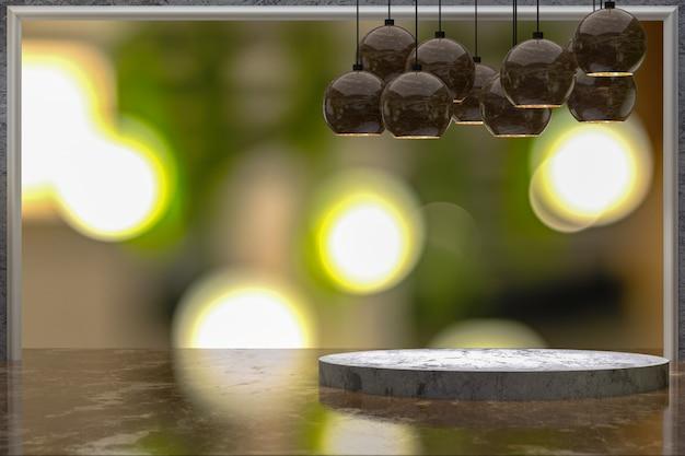 Tavolo vuoto in marmo per l'esposizione dei prodotti