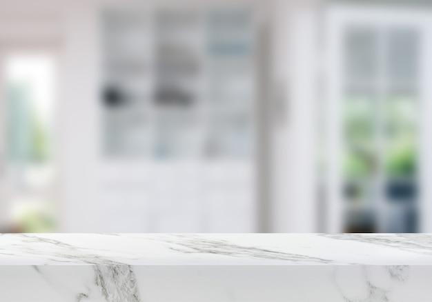 Tavolo di marmo vuoto sullo sfondo del prodotto sullo sfondo del soggiorno