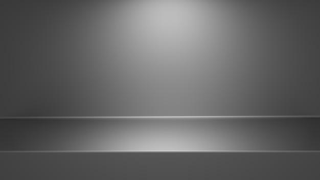 Fondo grigio moderno vuoto della tavola del punto luminoso dello studio di pendenze