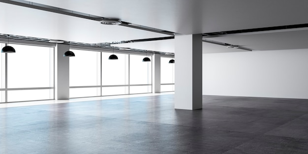 Spazio aperto dell'ufficio vuoto con pavimento in cemento