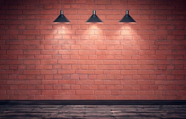 Vecchia stanza grungy vuota con muro di mattoni rossi e pavimento in legno.