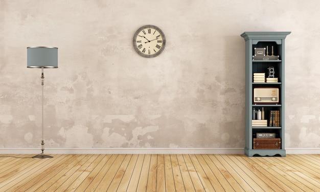 Vecchia stanza vuota con libreria, lampada da terra e orologio. rendering 3d