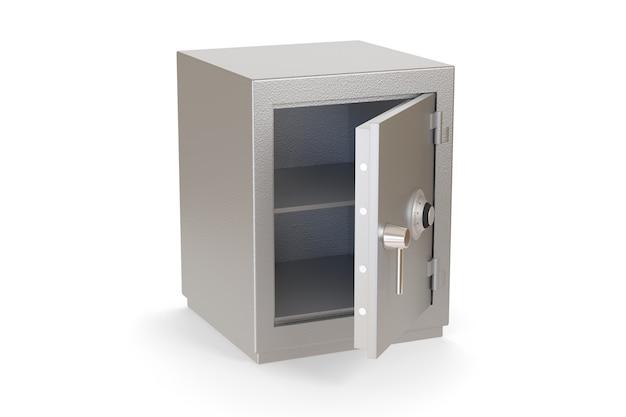 Cassetta sicura aperta vuota isolata isolata su bianco.