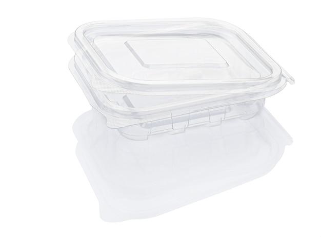 Contenitore per alimenti in plastica trasparente aperto vuoto isolato su bianco con il percorso di residuo della potatura meccanica