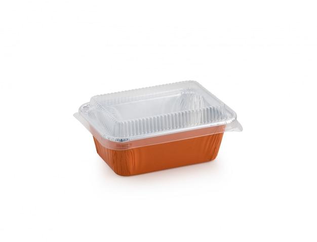 Forno vuoto della scatola arancio su fondo bianco isolato