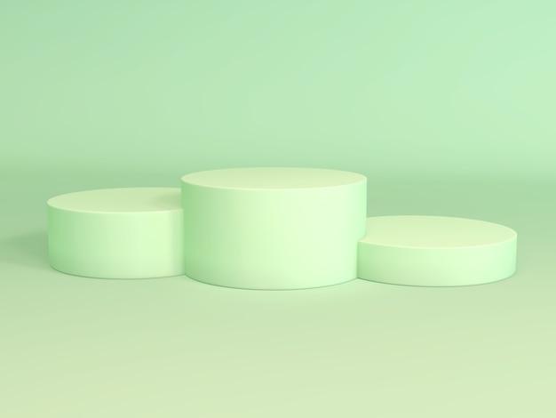 Podio dei vincitori verde pastello vuoto sul rendering 3d di colore verde pastello.