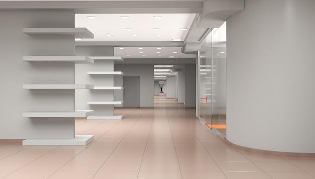 Illustrazione 3d di visualizzazione interna del padiglione vuoto