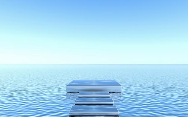 Piedistallo vuoto sul fondo dell'acqua. astratto geometrico minimale. rendering 3d