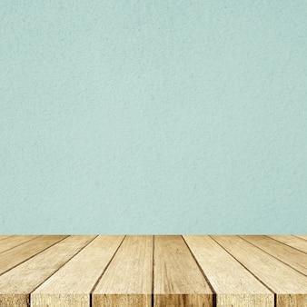 Legno d'annata di prospettiva vuota e fondo verde della stanza della parete del cemento