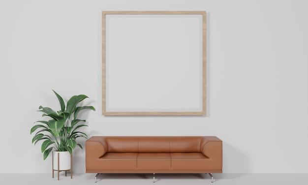 Cornice per foto vuota sfondo bianco l'angolo che sembra comodo rendering 3d
