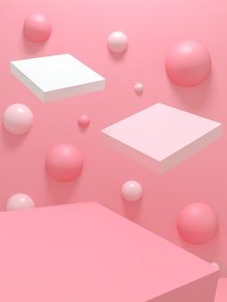 Podio geometrico vuoto piedistallo rosa su sfondo rosa