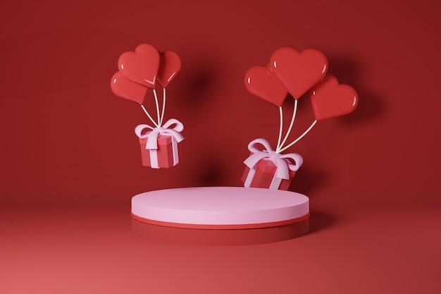 Vuoto podio rosa davanti a due palloncini a forma di amore tira sulla confezione regalo san valentino concept design - 3d rendering
