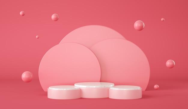 Podio rosa vuoto con cerchi sullo sfondo e sfere galleggianti