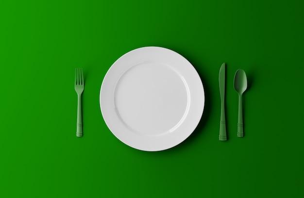 Piatto vuoto, forchetta e coltello isolato su sfondo verde. illustrazione 3d