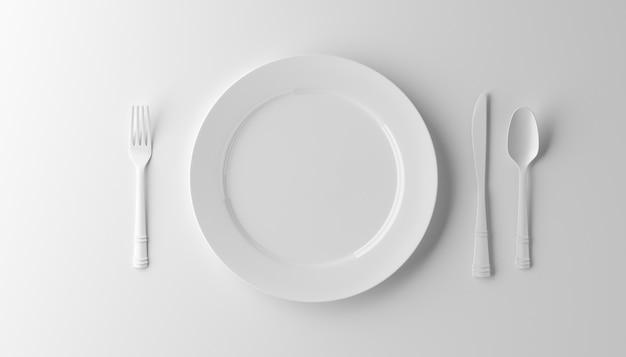 Piatto, forcella e coltello vuoti isolati su fondo bianco. illustrazione 3d