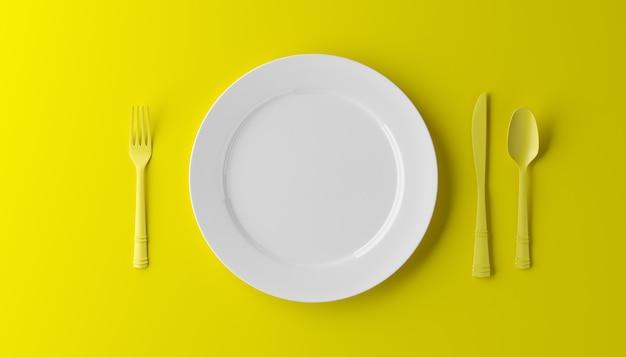 Piatto vuoto, forchetta e coltello isolato su sfondo giallo. illustrazione 3d
