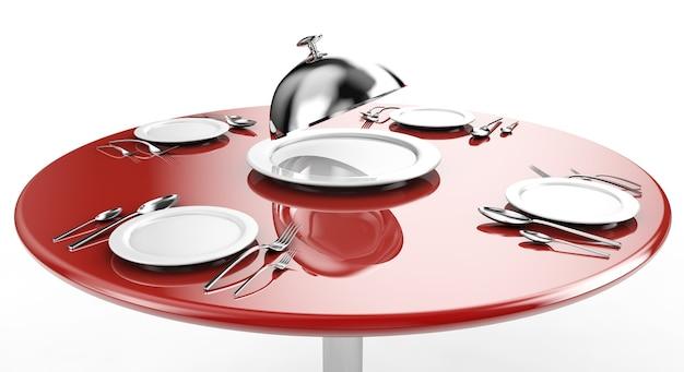 Piatti vuoti, cucchiaio, forchetta e coltello su una base di marmo. illustrazione 3d