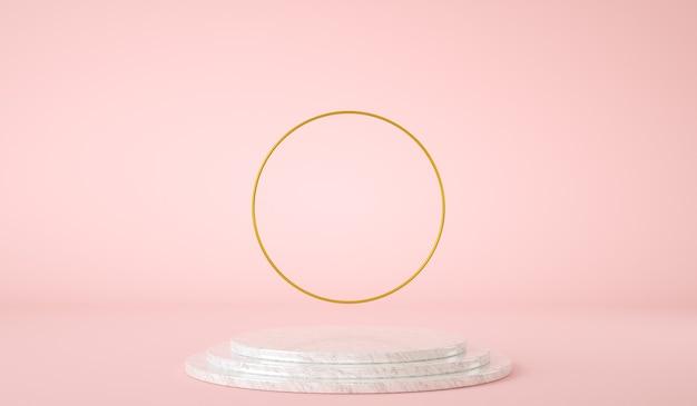 Piattaforma vuota per la presentazione del prodotto con anello d'oro d rendering