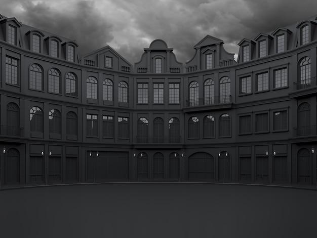 Piazza vuota circondata da un edificio nero in stile classico con sfondo nuvola di pioggia 3d render