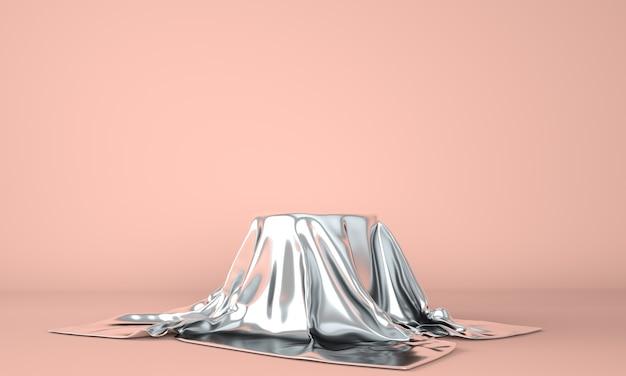 Podio vuoto ricoperto di tela d'argento. illustrazione 3d