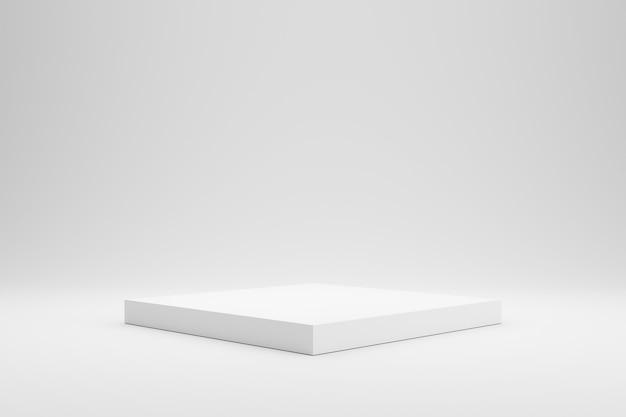 Esposizione vuota del piedistallo o del podio su fondo bianco con il concetto del supporto della scatola.