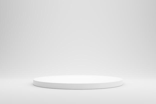 Esposizione vuota del piedistallo o del podio su fondo bianco con il concetto del supporto del cilindro.