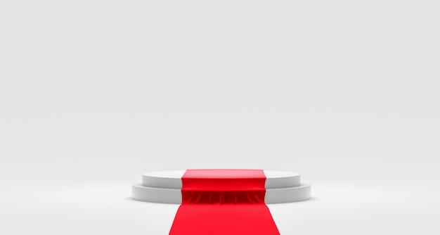 Esposizione vuota del piedistallo o del podio su fondo bianco con tappeto rosso e concetto esclusivo.