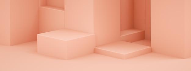 Podio vuoto per prodotto, forme geometriche rosa, rendering 3d, mockup panoramico